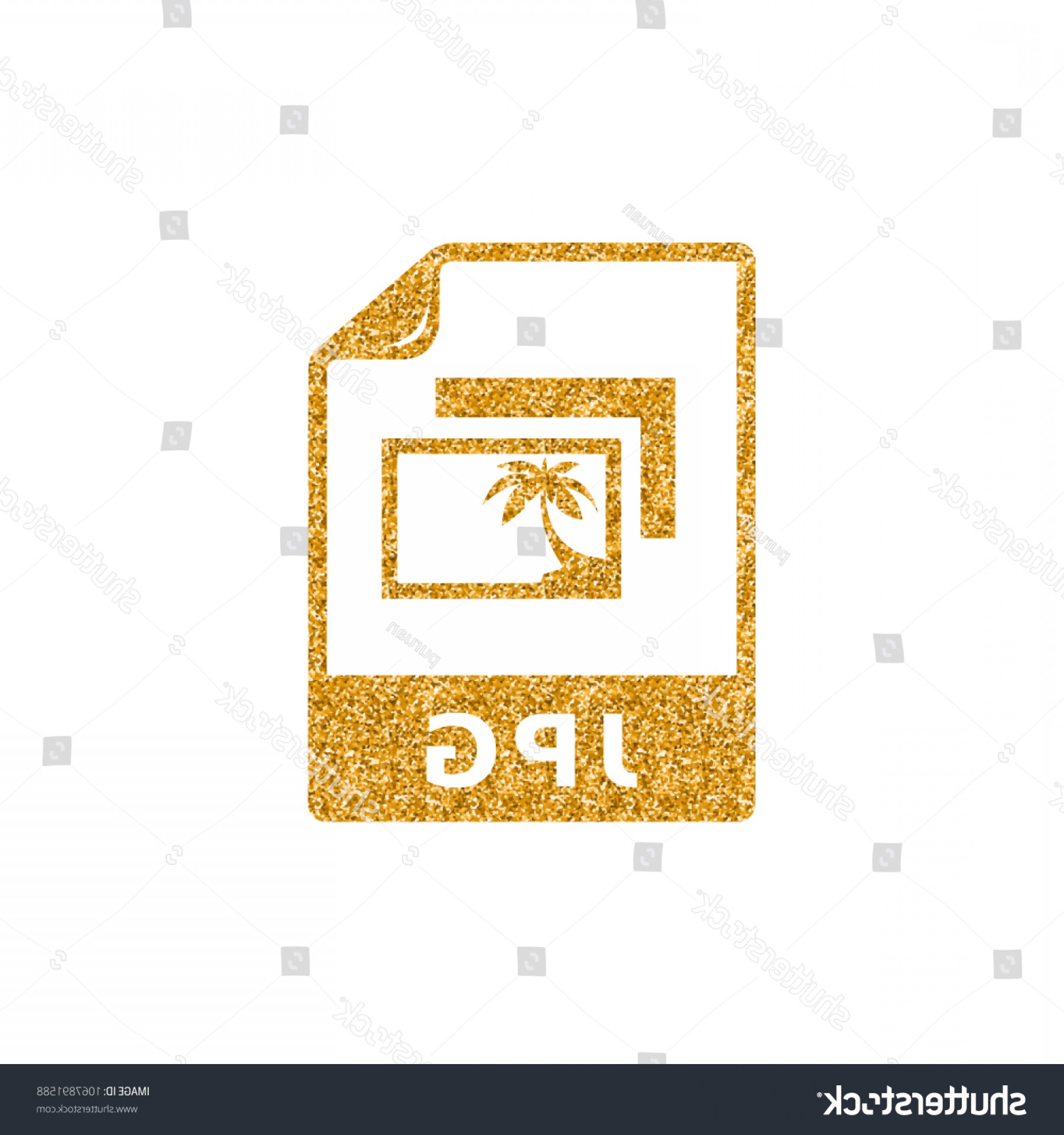File Formats Vector Artwork: Picture File Format Icon Gold Glitter
