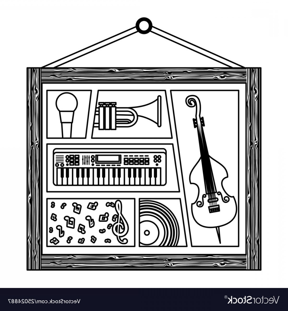 Musical Vector Artwork: Picture Hanging With Musical Instruments Vector