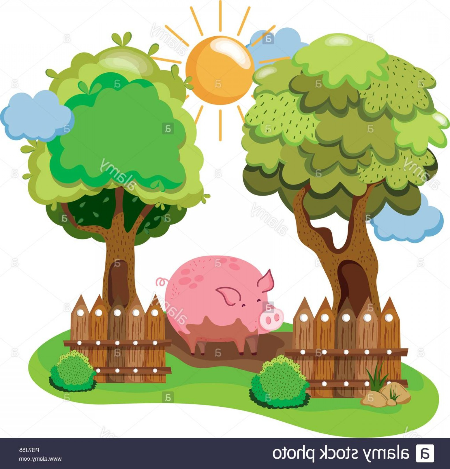 Swamp Vector Art: Pig Animal In The Swamp Farm And Trees Image