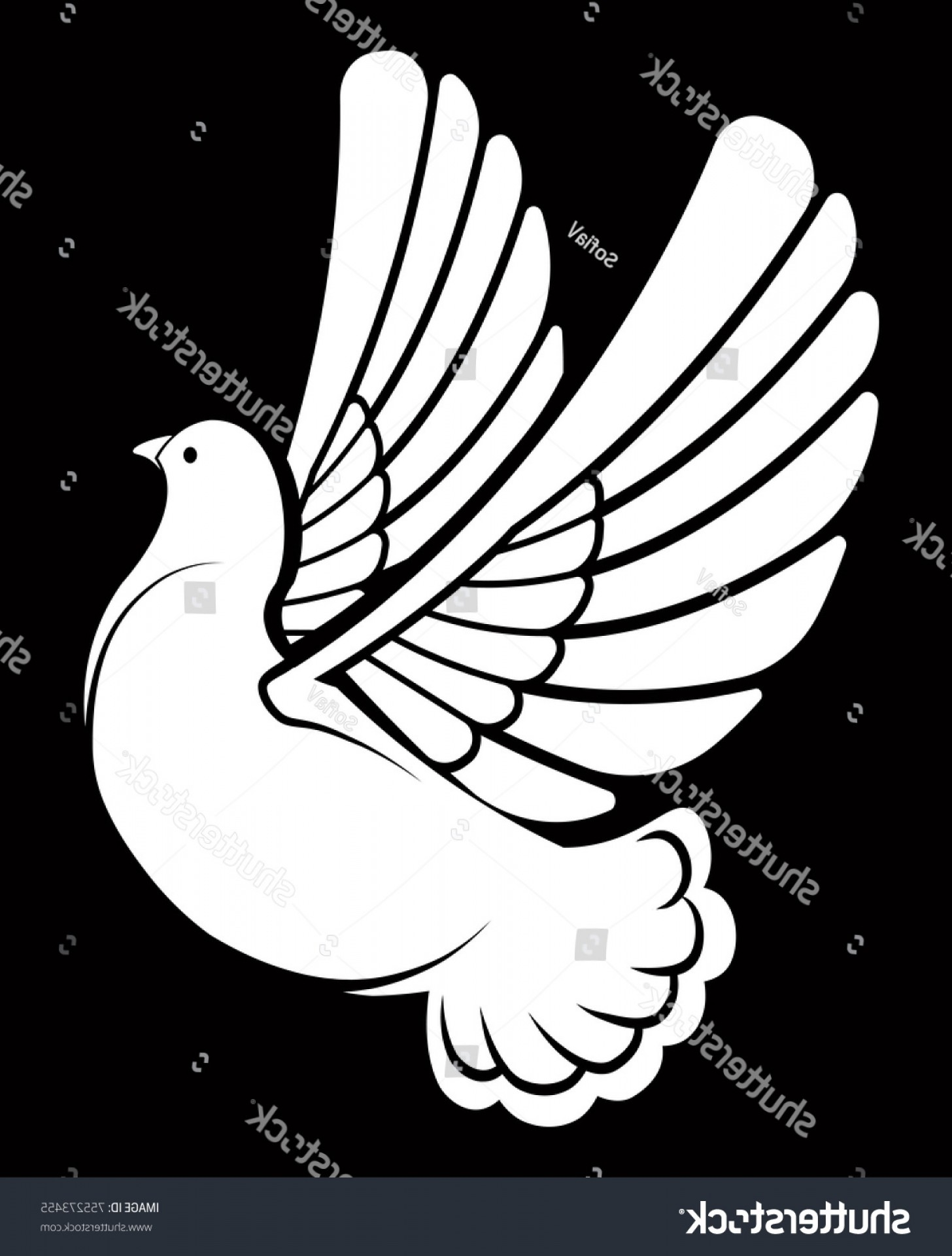 White Bird Vector: Pigeon Dove White Bird Vector Logo