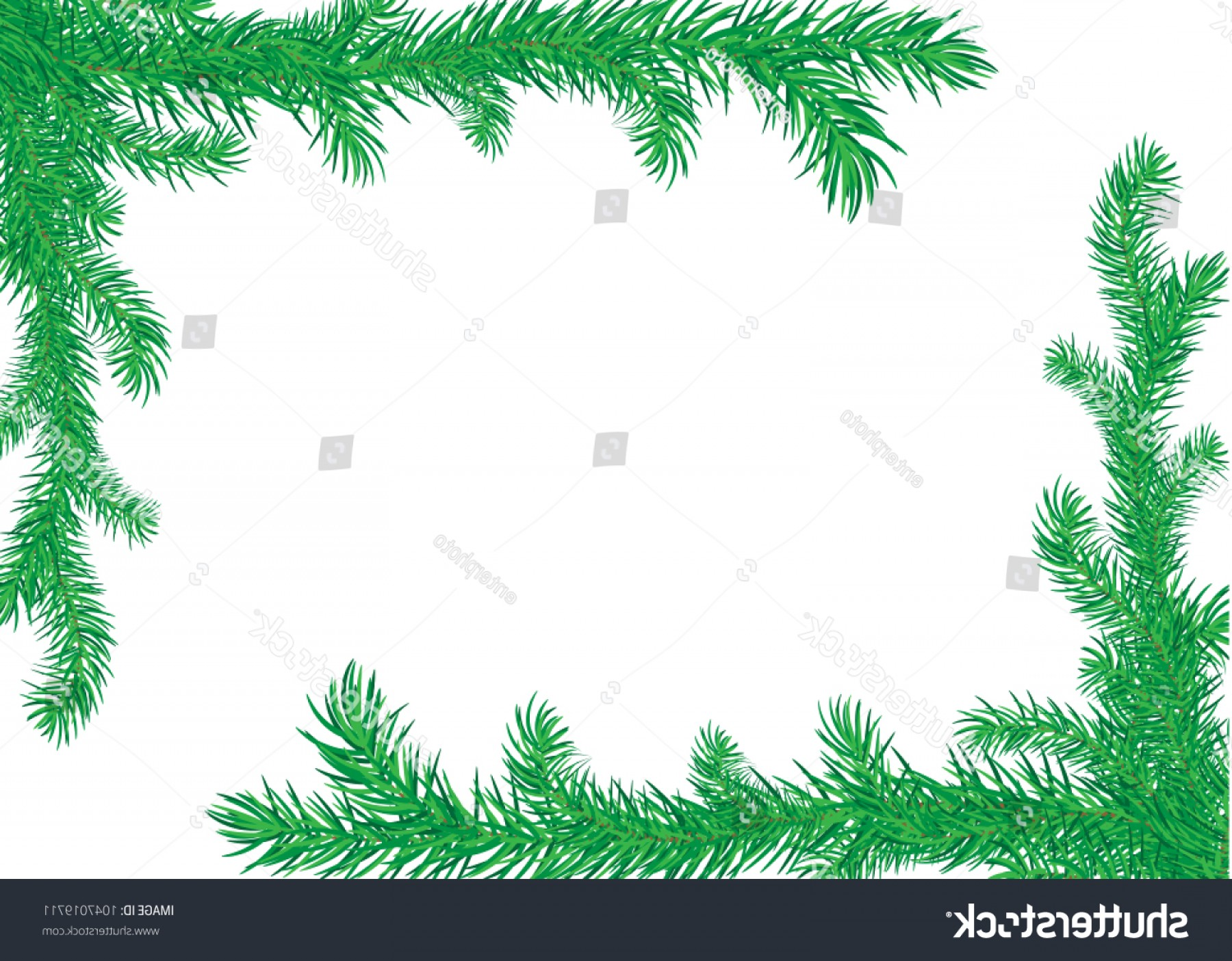 Pine Leaf Vector: Pine Leaf Frame Nature Decorative Border