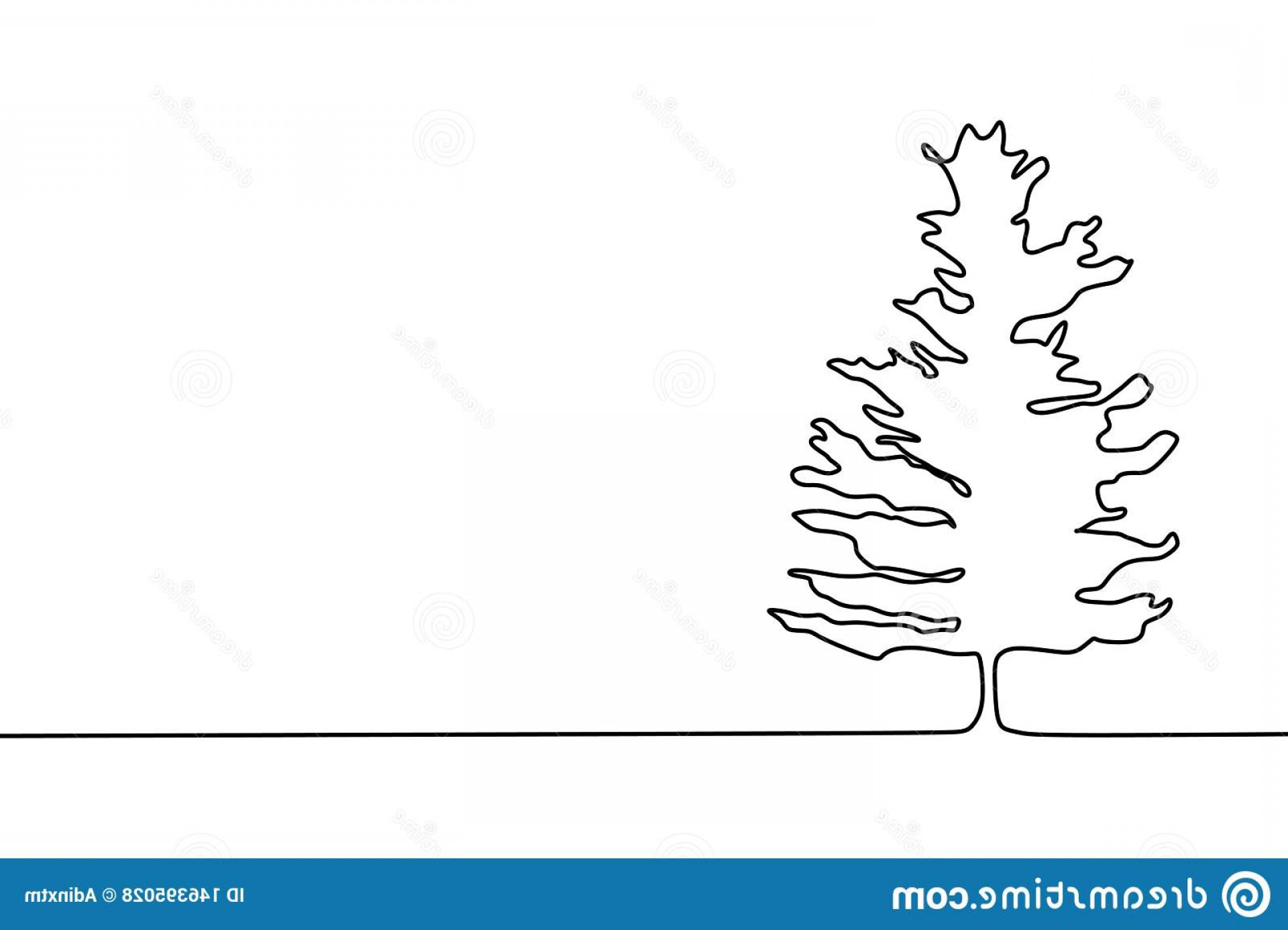 Tree Abstract Line Art And Vector: Pine Tree Continuous One Line Drawing Minimalist Design Image