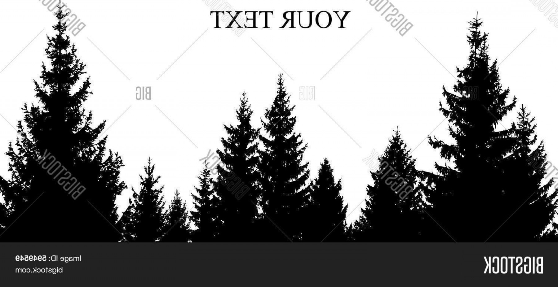 Christmas Pine Tree Vector Art: Pine Tree Forest Silhouette Vector