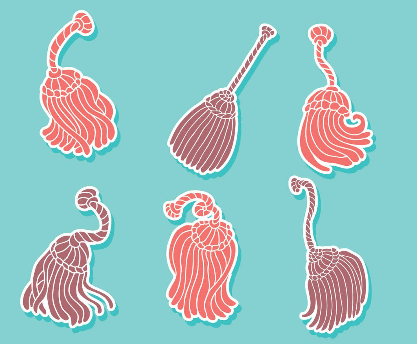 Tassel Vector: Pink And Purple Tassel Collection Vector