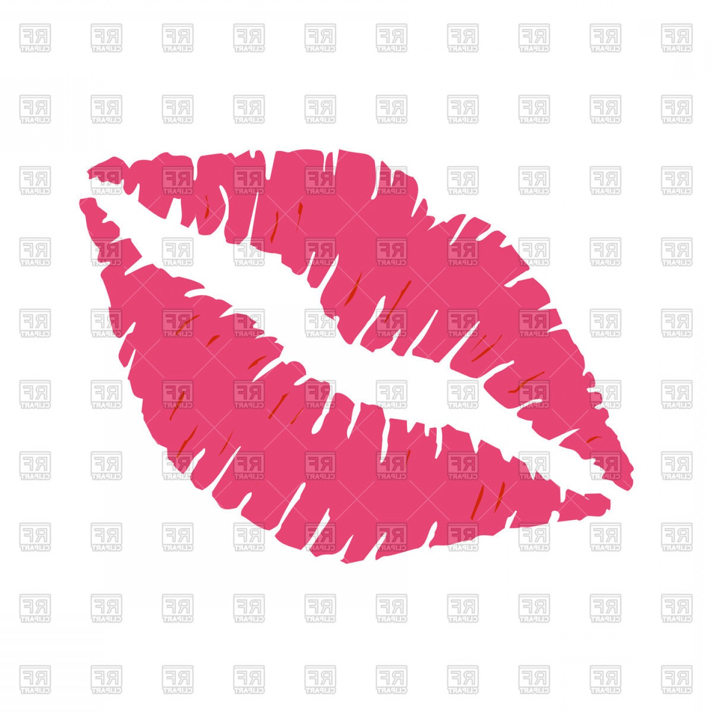 Pink Lips Vector Clip Art: Pink Lipstick Kiss On White Background Lips Vector Clipart