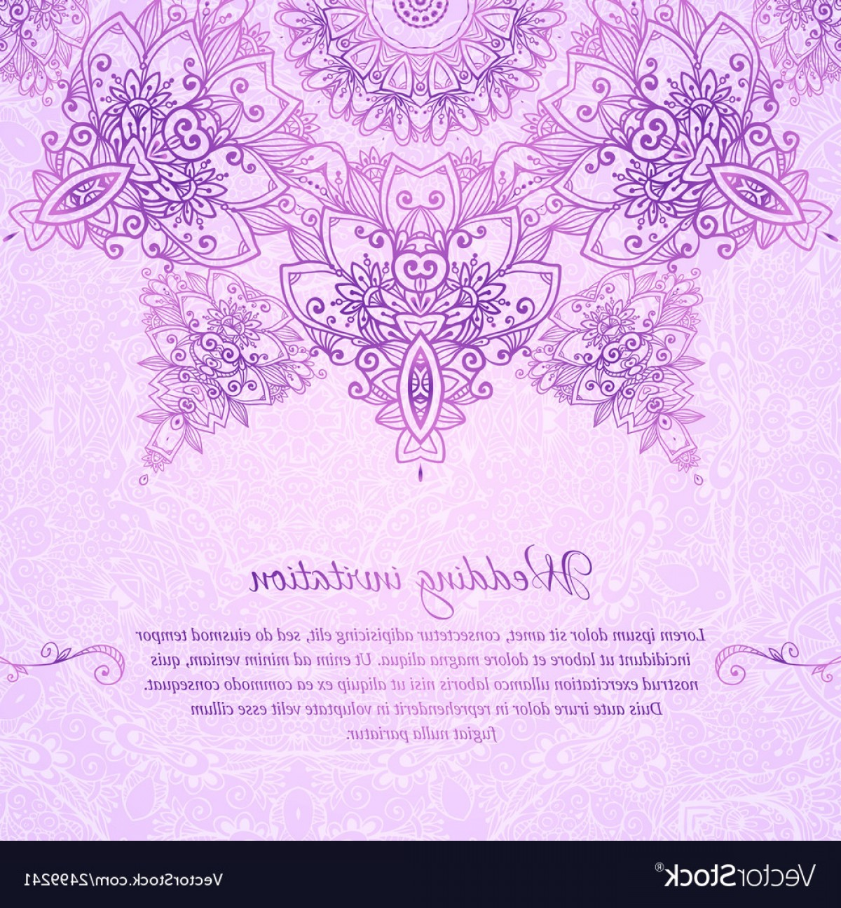 Lilac Wedding Vectors: Pink Ornate Vintage Wedding Card Background Vector