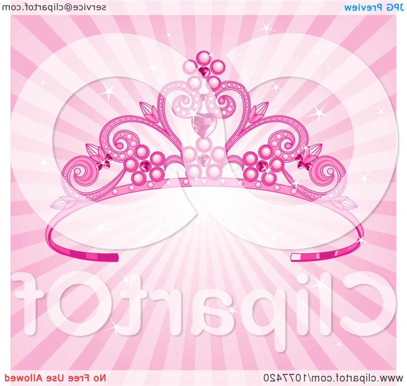 Pageant Tiaras Vector: Pink Pageant Princess Tiara Crown Over Sparkly Rays