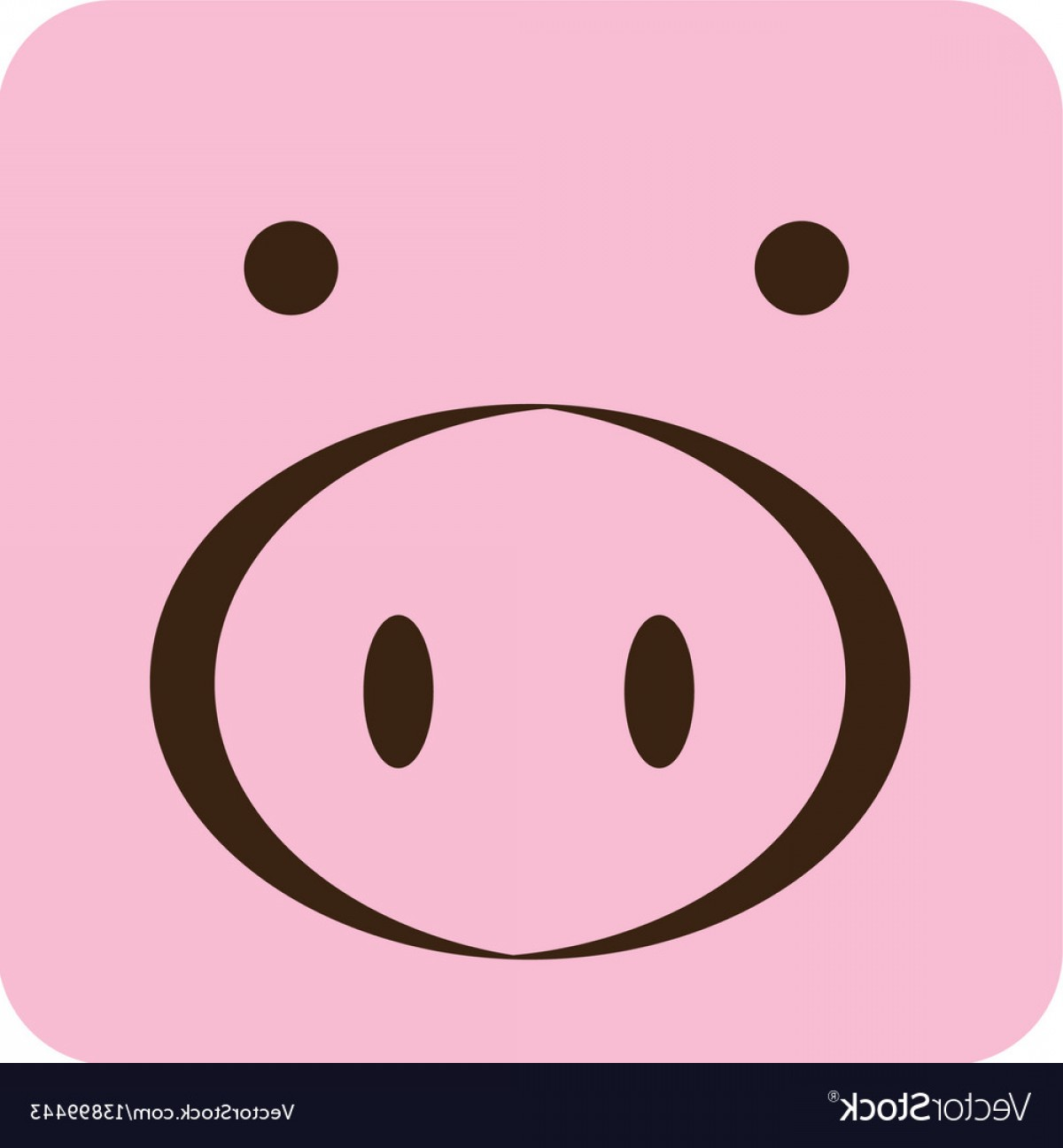 Vector Pig Nose: Pink Square Pig Animal Face Expression Vector
