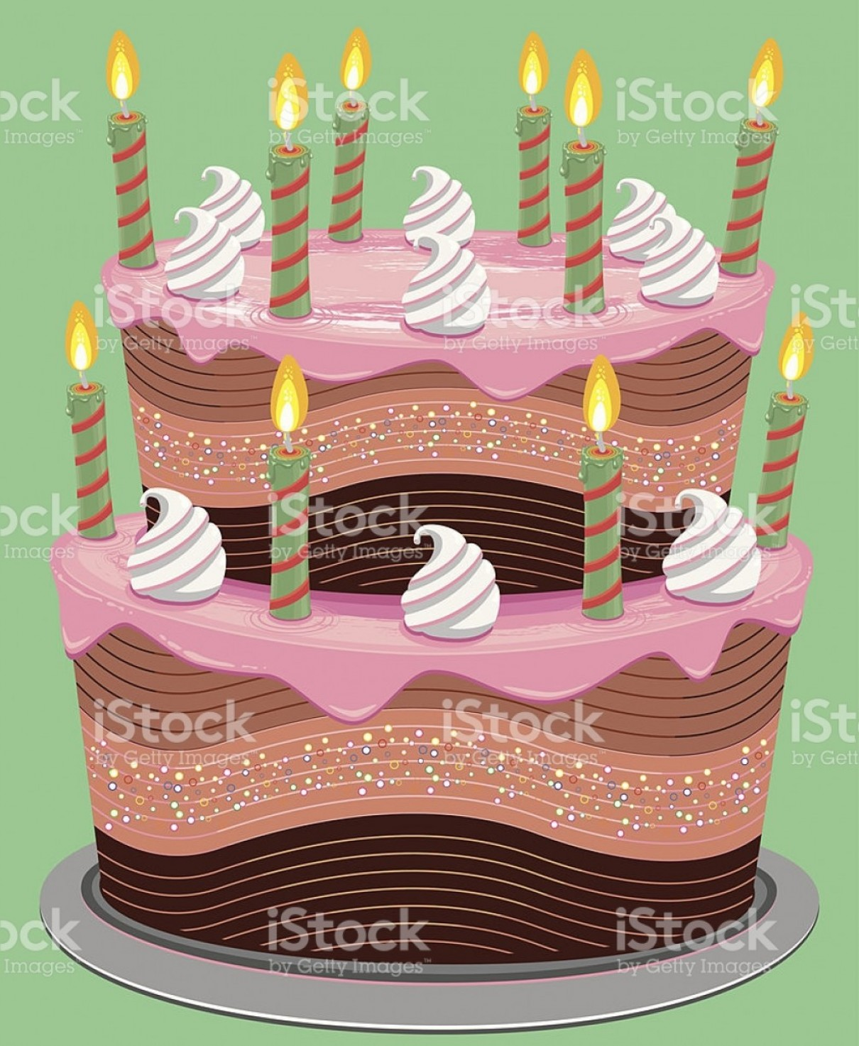 Vector 3 Tier Tray: Pink Two Tier Birthday Cake Gm