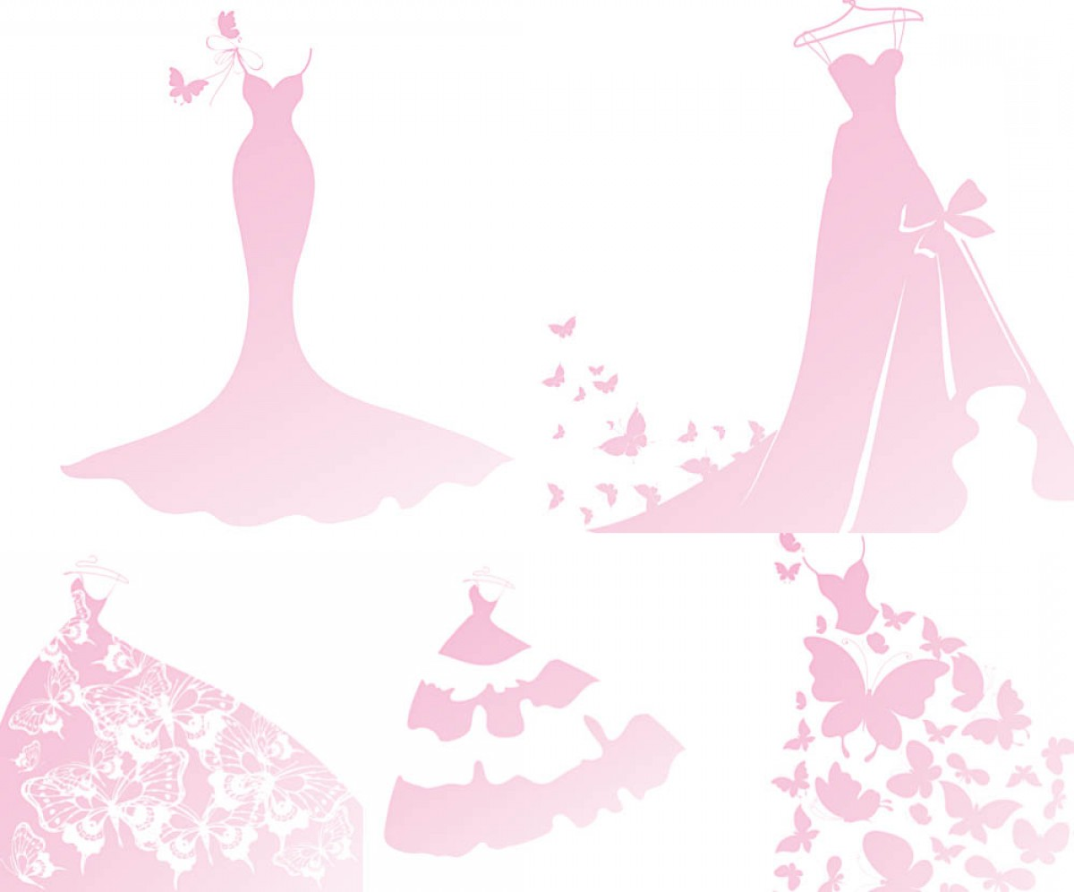 Lilac Wedding Vectors: Pink Wedding Dress Templates With Butterfly Vector
