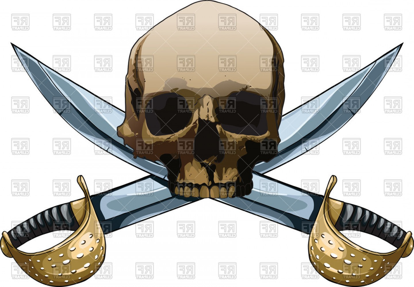 Pirate Swords Crossed Vectors: Pirate Symbol Jolly Roger With Crossed Swords Vector Clipart