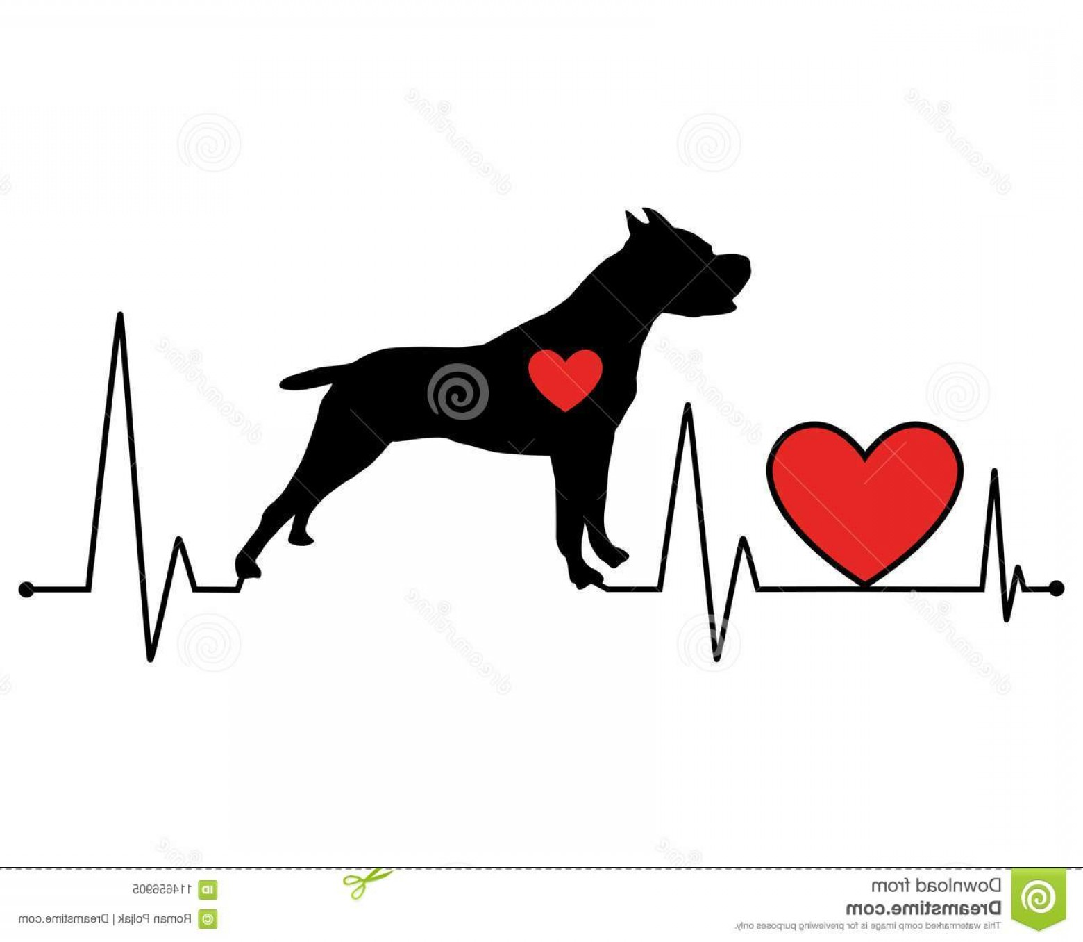 Pit Silhouette Vector: Pit Bull Silhouette Heartbeat Line Vector Illustration Pit Bull Silhouette Heartbeat Line Vector Illustration Illustration Image