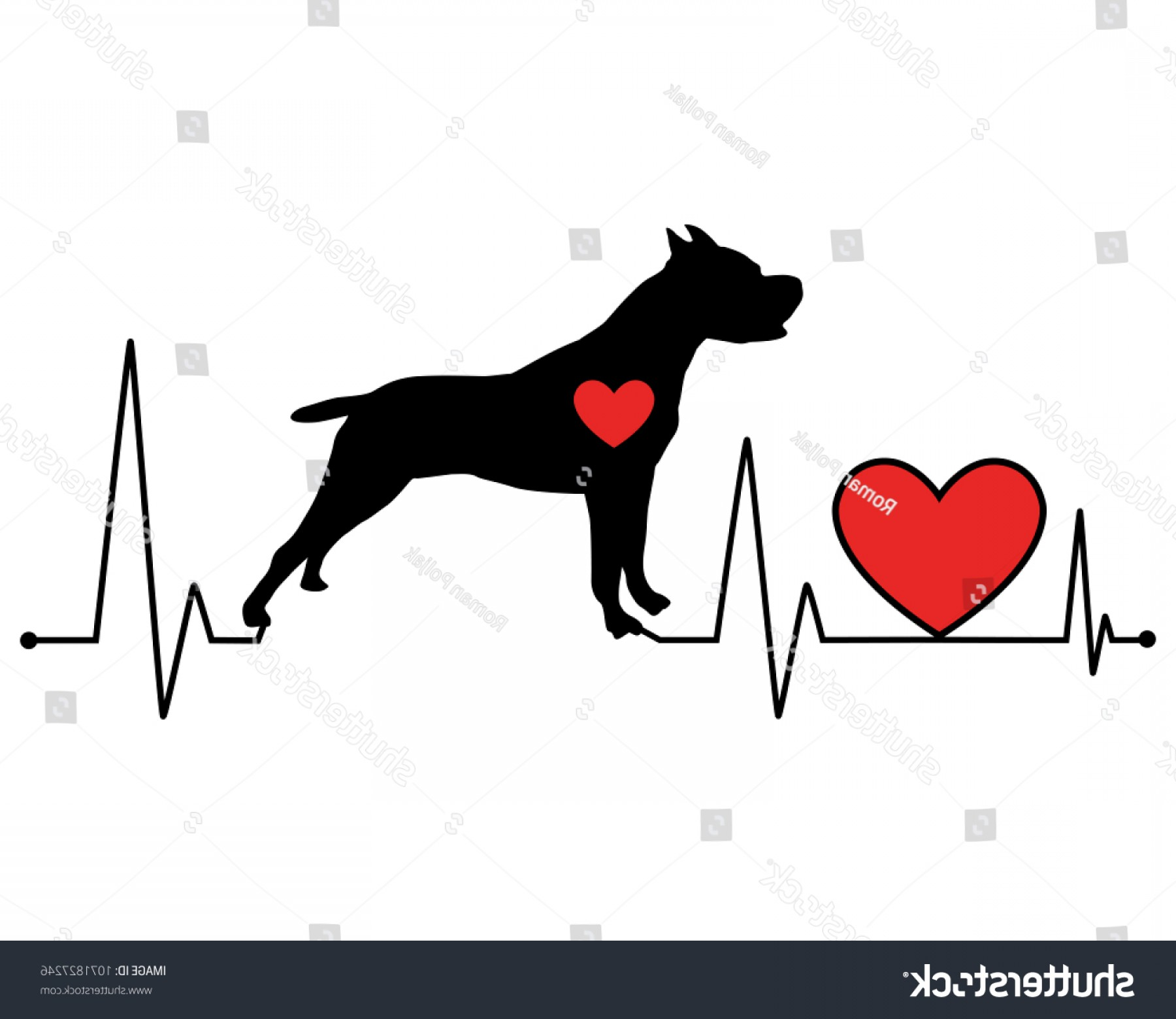 Goldendoodle Vector SVG: Pit Bull Silhouette Heartbeat Line Vector