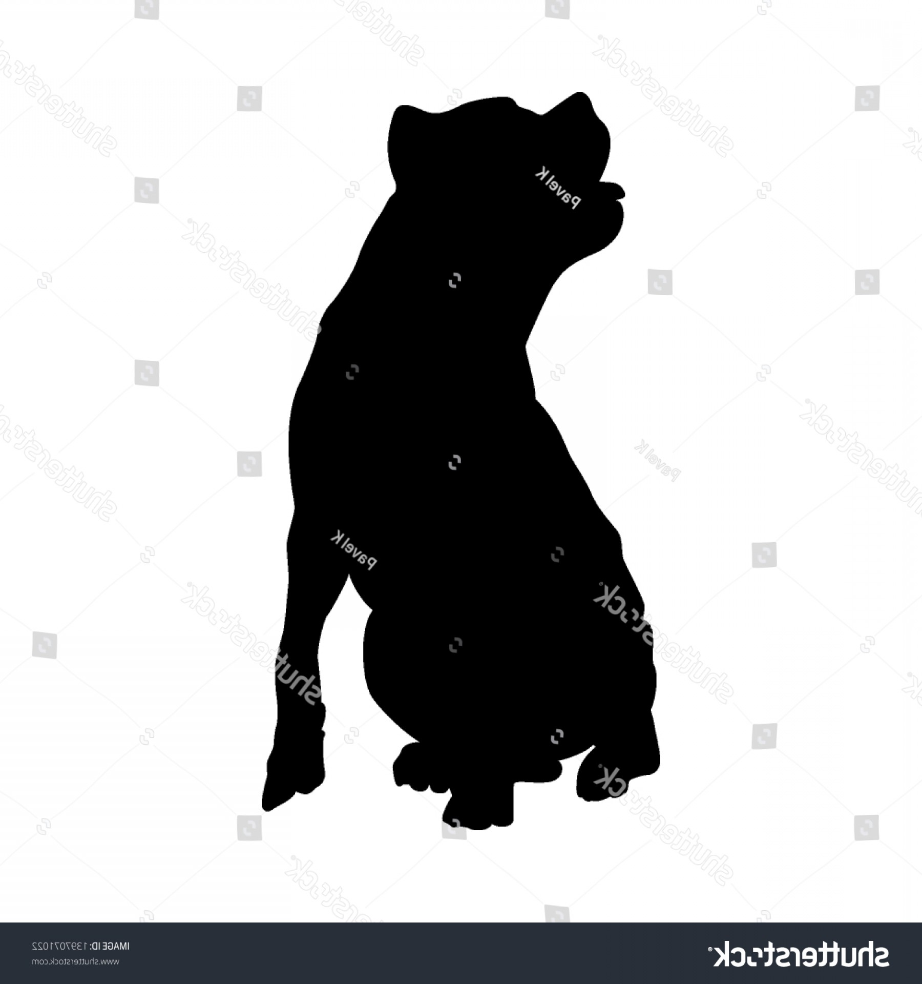 Pit Silhouette Vector: Pit Bull Terrier Dog Silhouette Smooth