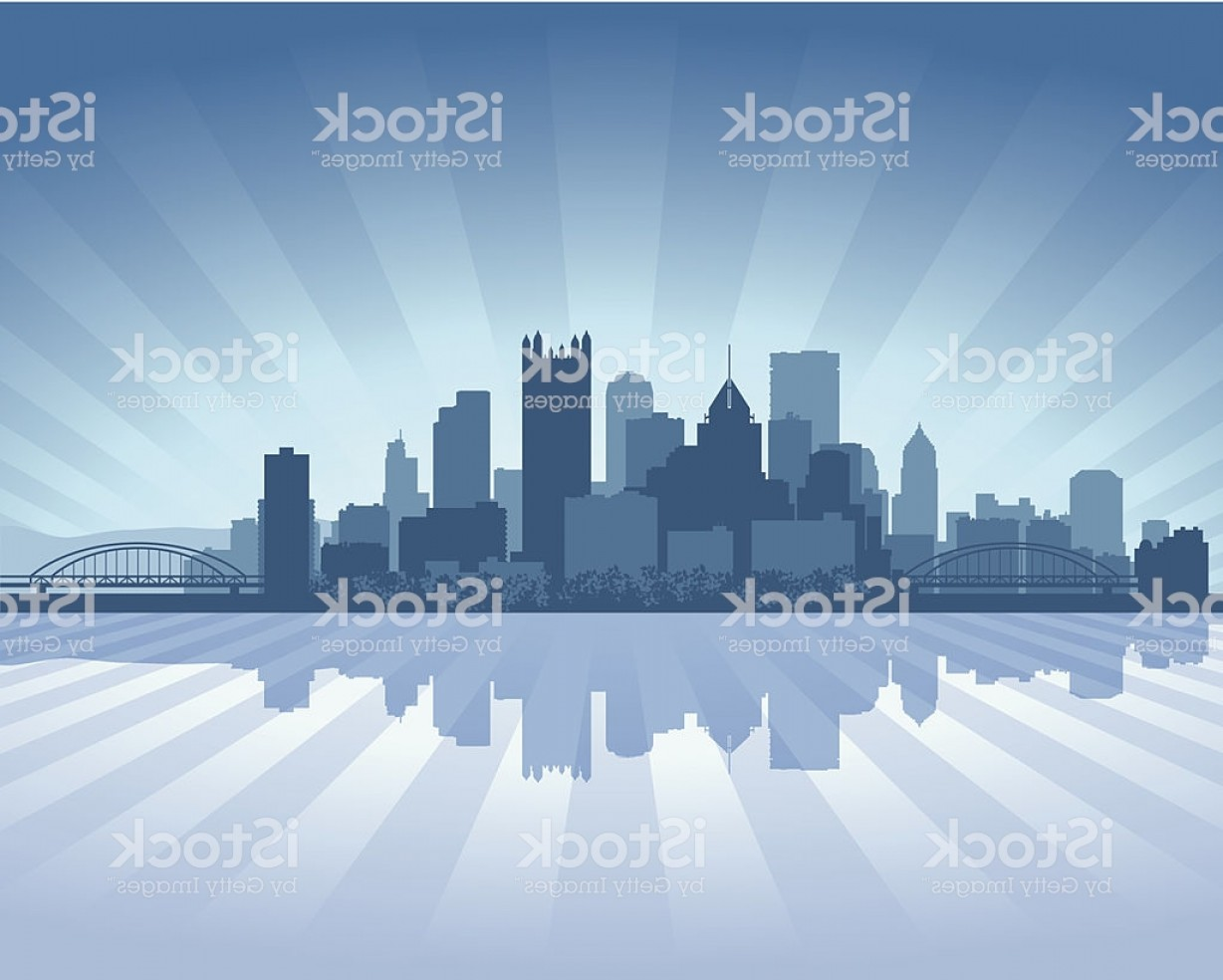Pittsburgh City Skyline Vector: Pittsburgh Blue City Skyline Silhouette Gm