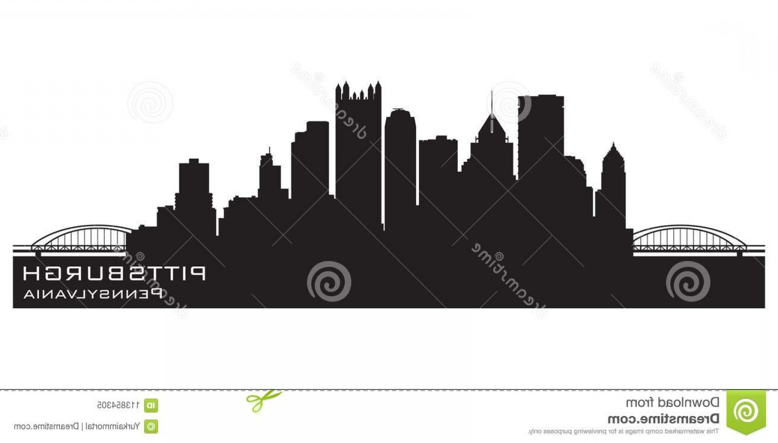 Pittsburgh City Skyline Vector: Pittsburgh Pennsylvania Skyline Background Vector Illustration Pittsburgh Pennsylvania City Skyline Detailed Vector Silhouette Image