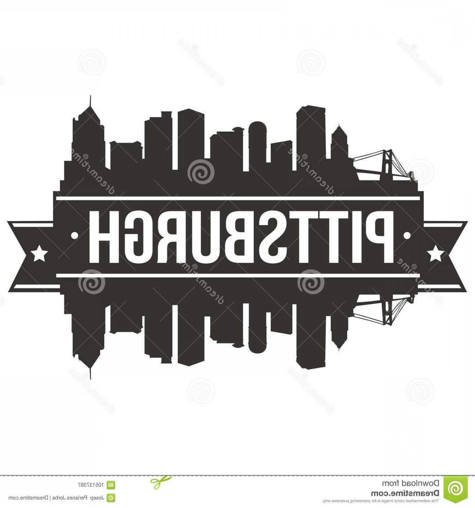 Pittsburgh City Skyline Vector: Pittsburgh Pennsylvania United States America Usa Icon Vector Art Design Skyline Flat City Silhouette Editable Template Image