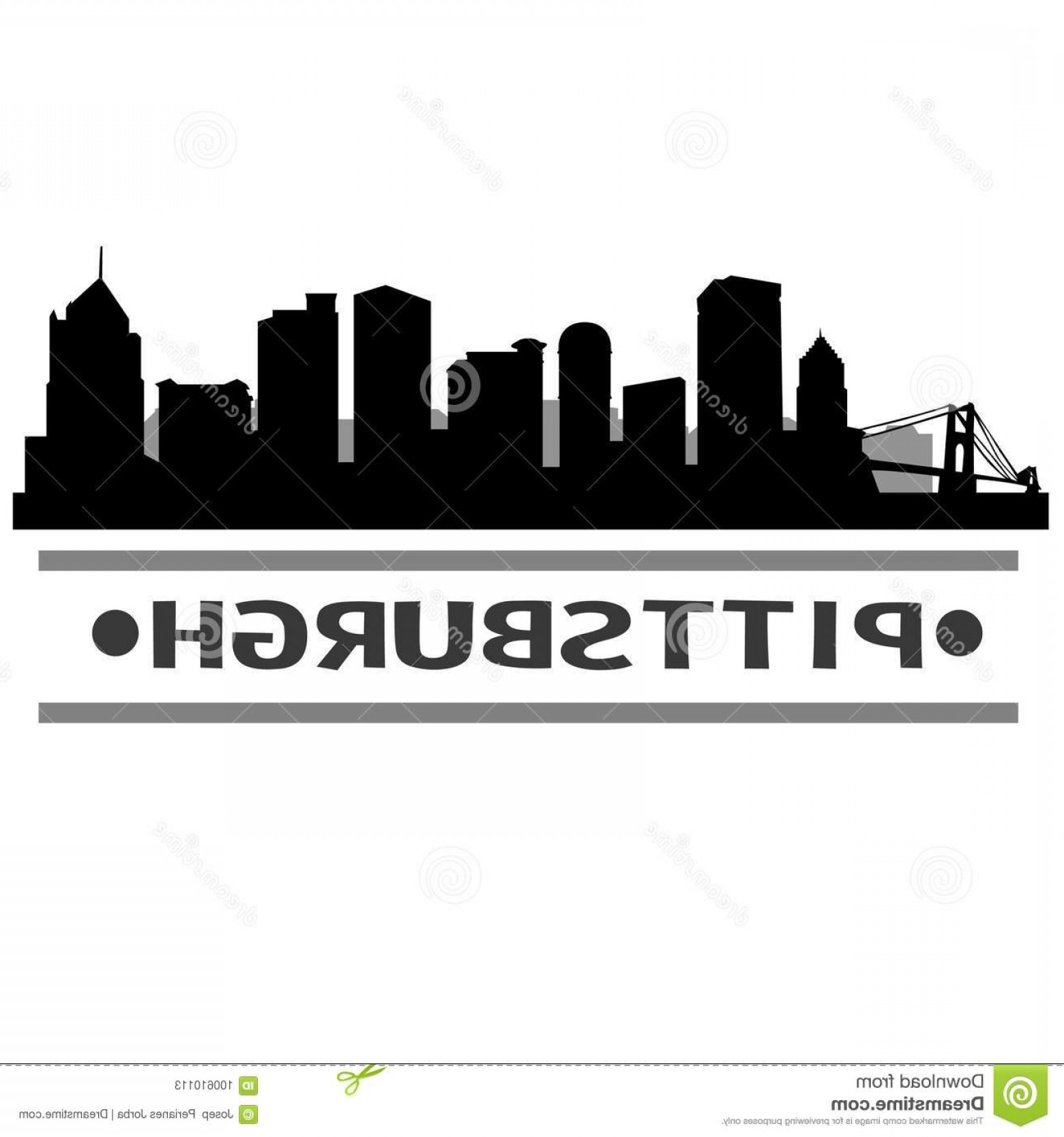 Pittsburgh City Skyline Vector: Pittsburgh Skyline City Icon Vector Art Design Emblematic Buildings Image
