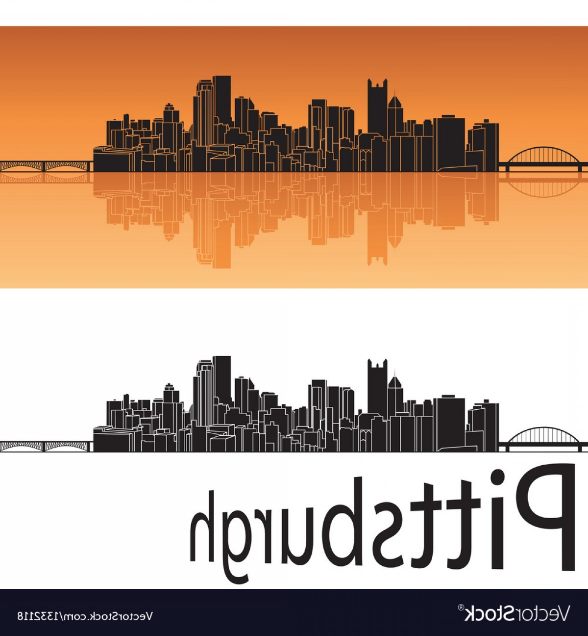 Pittsburgh City Skyline Vector: Pittsburgh Skyline In Orange Background Vector
