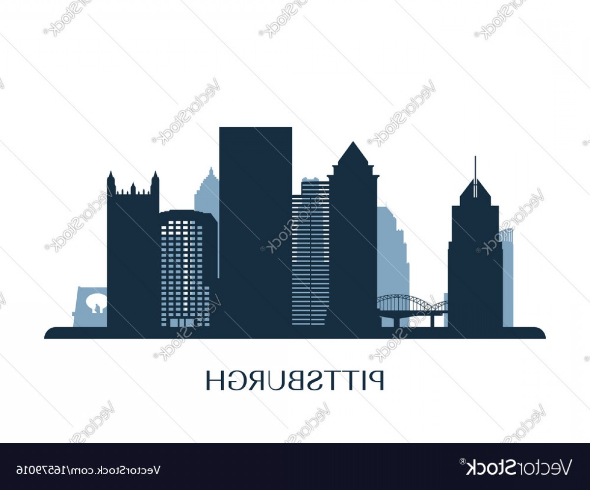 Pittsburgh City Skyline Vector: Pittsburgh Skyline Monochrome Silhouette Vector