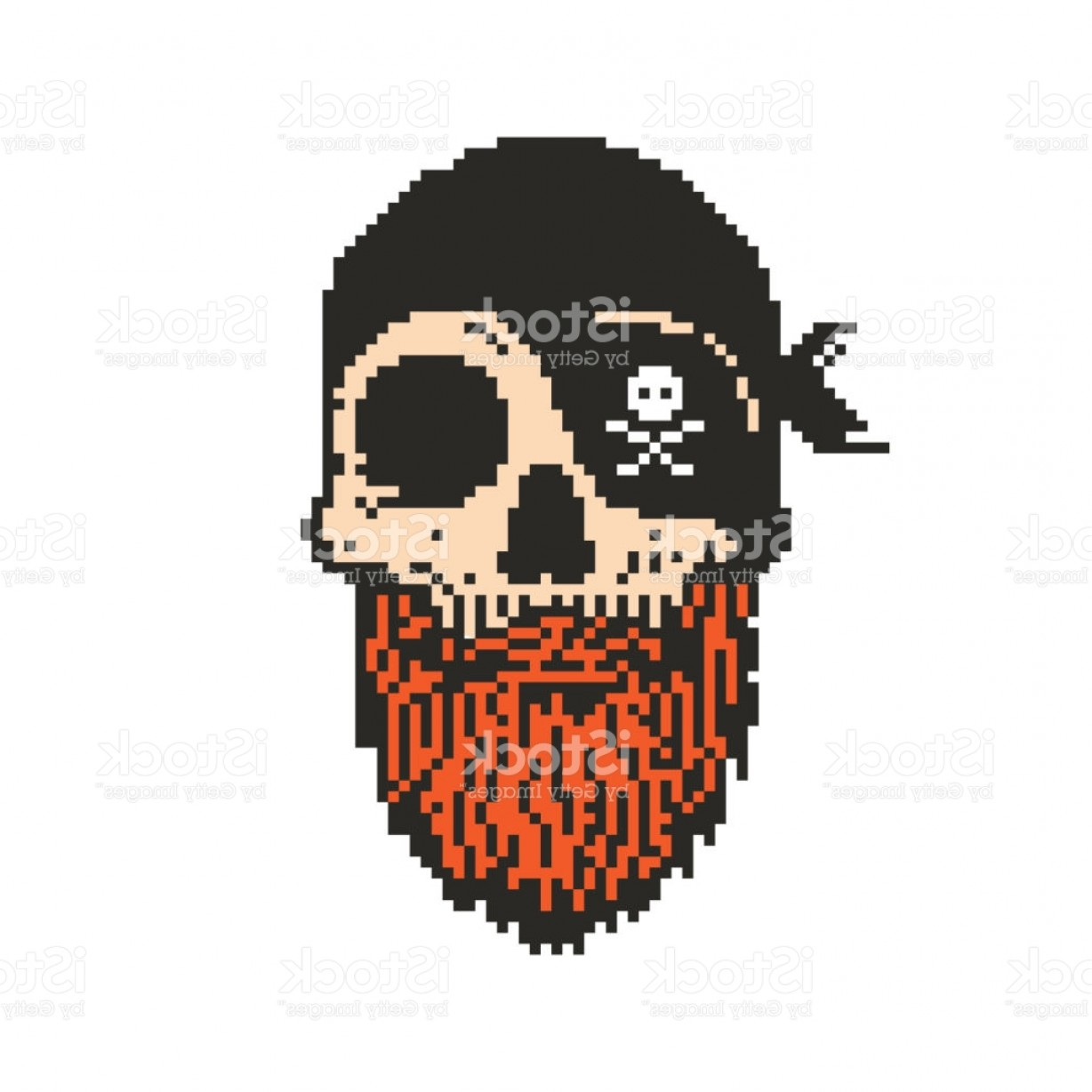 Fear The Beard Vector: Pixel Art Pirate Skull With Beard Gm