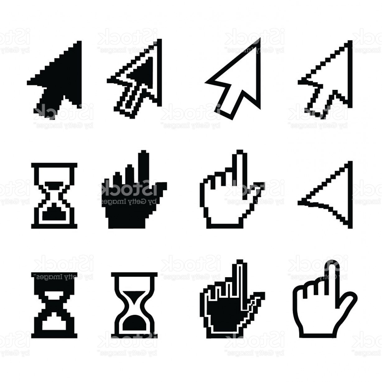 Computer Pointer Vector: Pixel Cursors Icons Mouse Cursor Hand Pointer Hourglass Illustration Gm
