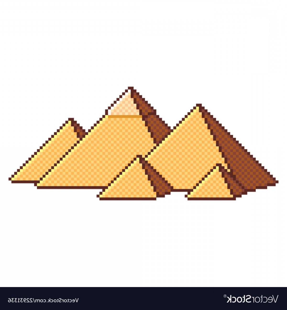 Piramids Vector Art: Pixel Egyptian Pyramids Wonders Of The World Vector