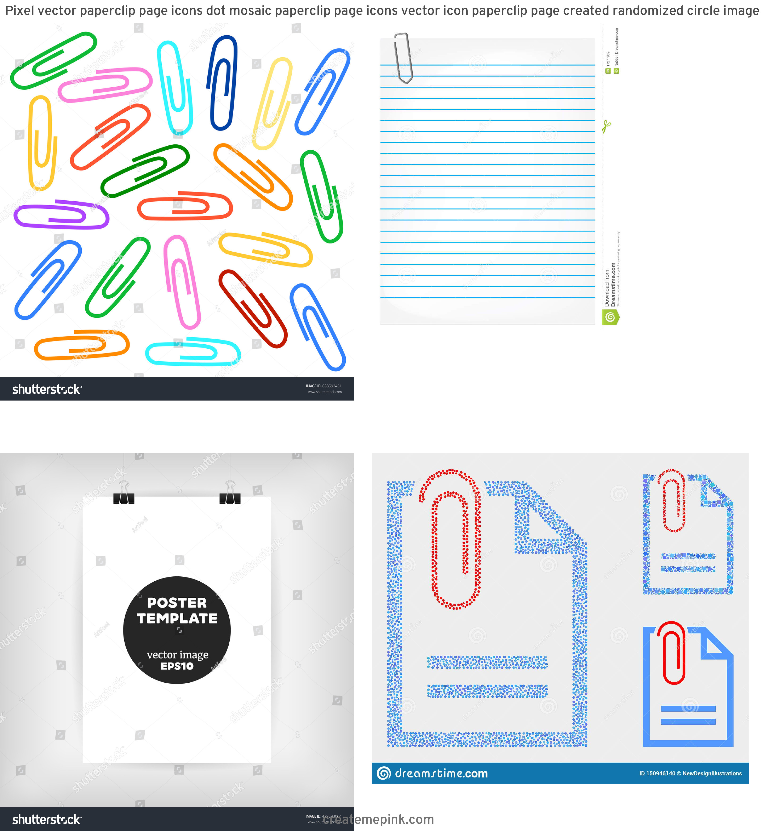 Vector Paper Clip On Page: Pixel Vector Paperclip Page Icons Dot Mosaic Paperclip Page Icons Vector Icon Paperclip Page Created Randomized Circle Image