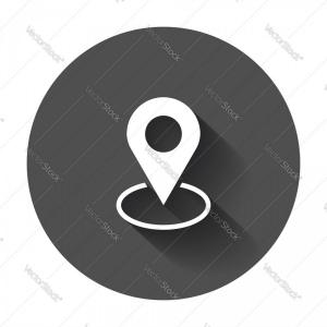 Navigation Vector: Pin Icon Location Sign In Flat Style Navigation Vector
