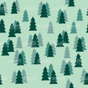 Christmas Tree Pattern Vector: Pine Tree Forest Silhouette Seamless Pattern Isolated On Green Background Gm