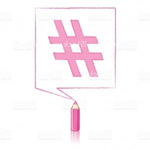 Hashtag Rose Vector: Pink Pencil Drawing Hashtag In Square Speech Balloon Gm