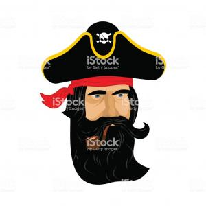 Noire Portrait Vector: Pirate Portrait In Hat Eye Patch And Smoking Pipe Filibuster Cap Bones And Skull Gm