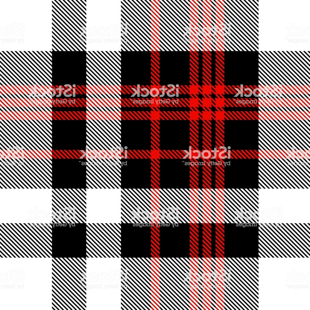 Red Black And White Vector Art: Plaid Pattern In Red Black And White Gm
