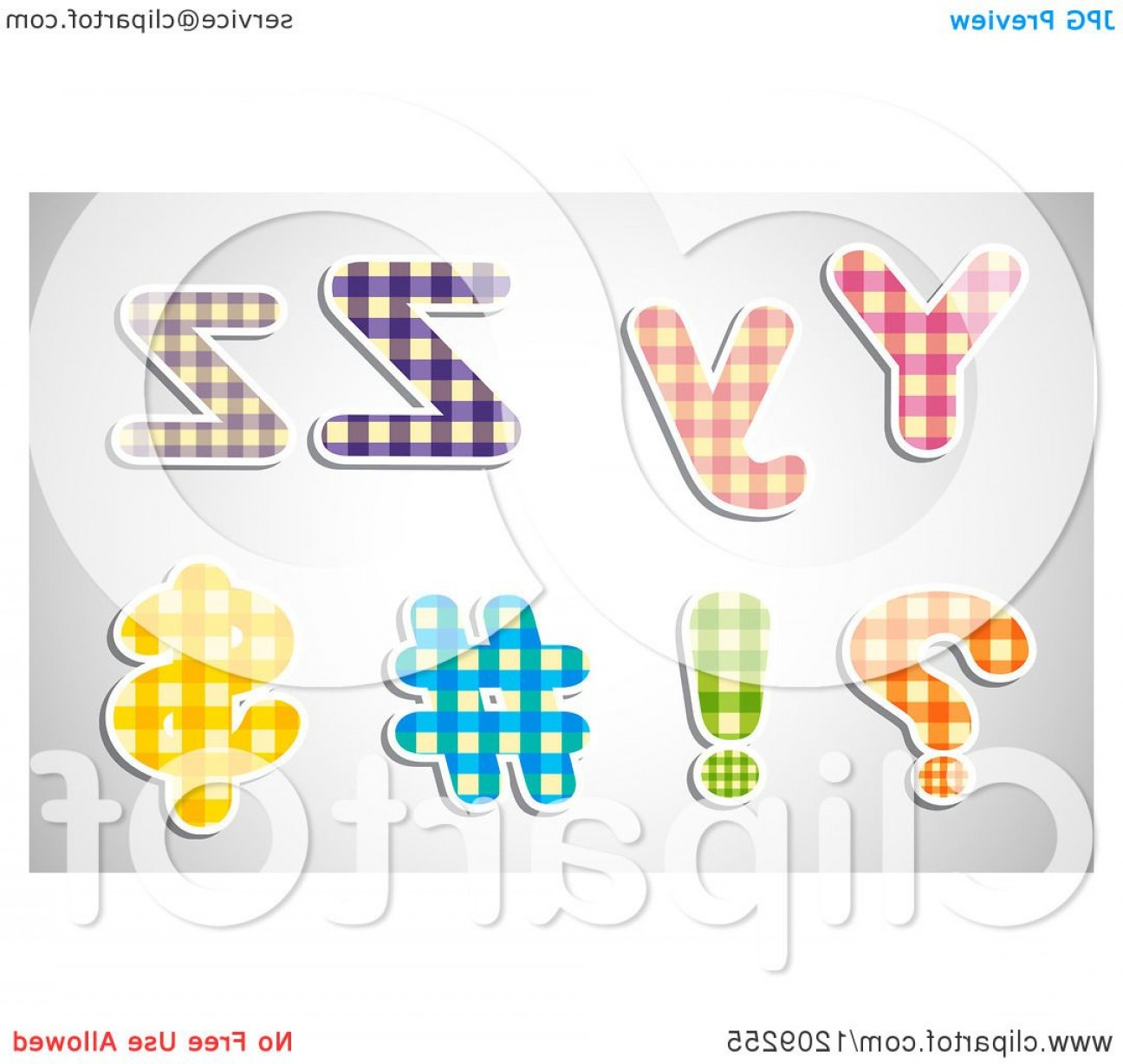 Letters Symbols Vector Art: Plaid Patterned Lowercase And Capital Letters Y And Z With Symbols