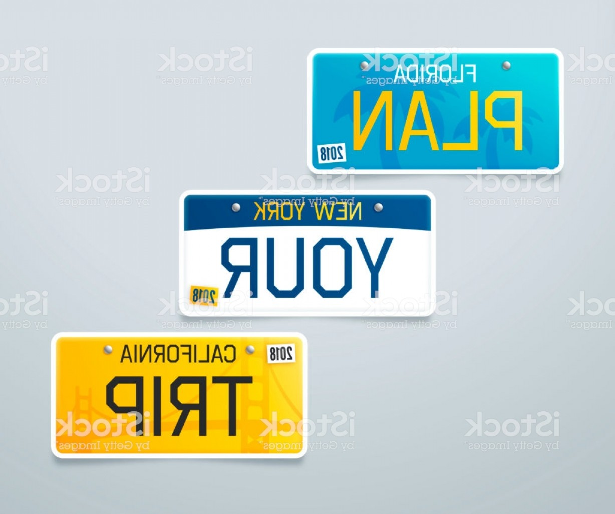 Florida License Plate Vector Art: Plan Your Trip License Plates Gm