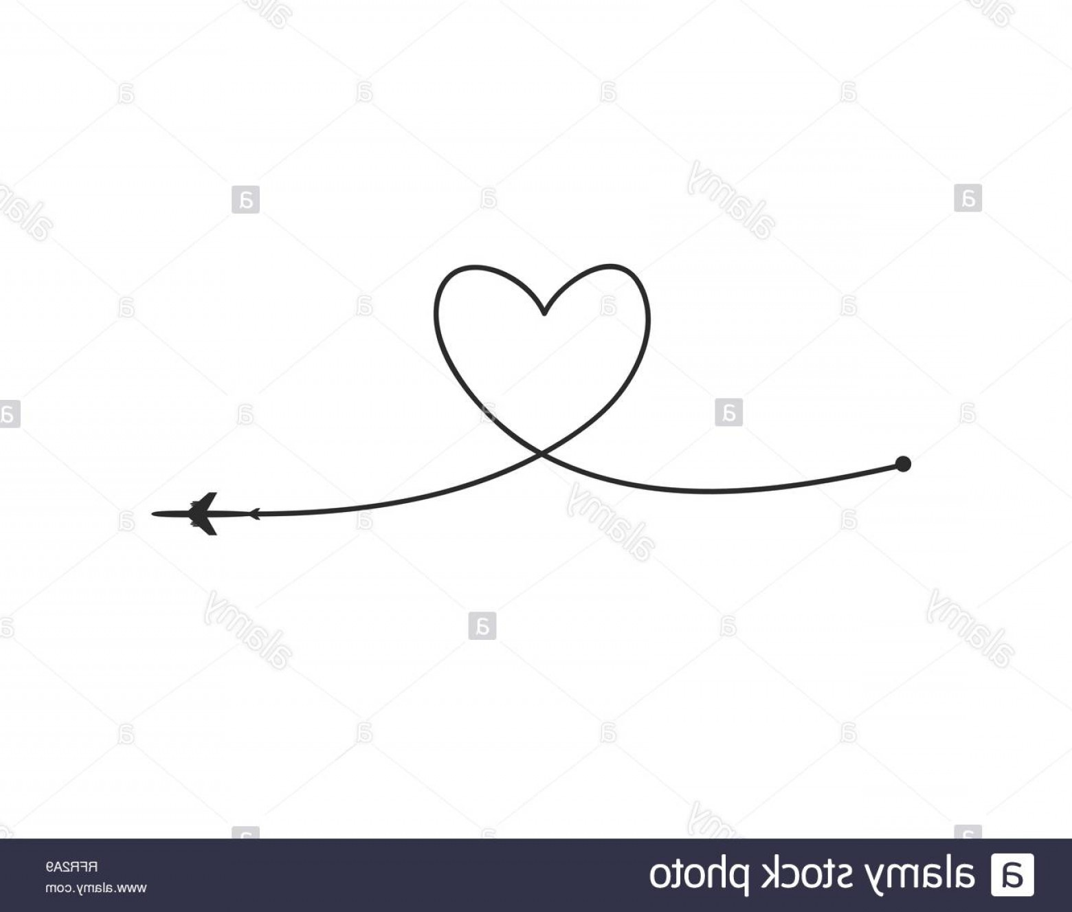 Black Heart And Plane Vector: Plane And Its Track In The Shape Of A Heart On White Background Vector Illustration Aircraft Flight Path And Its Route Image