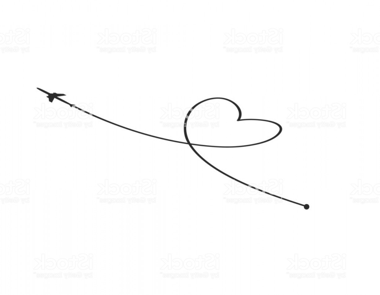 Black Heart And Plane Vector: Plane And Its Track In The Shape Of A Heart On White Background Vector Illustration Gm