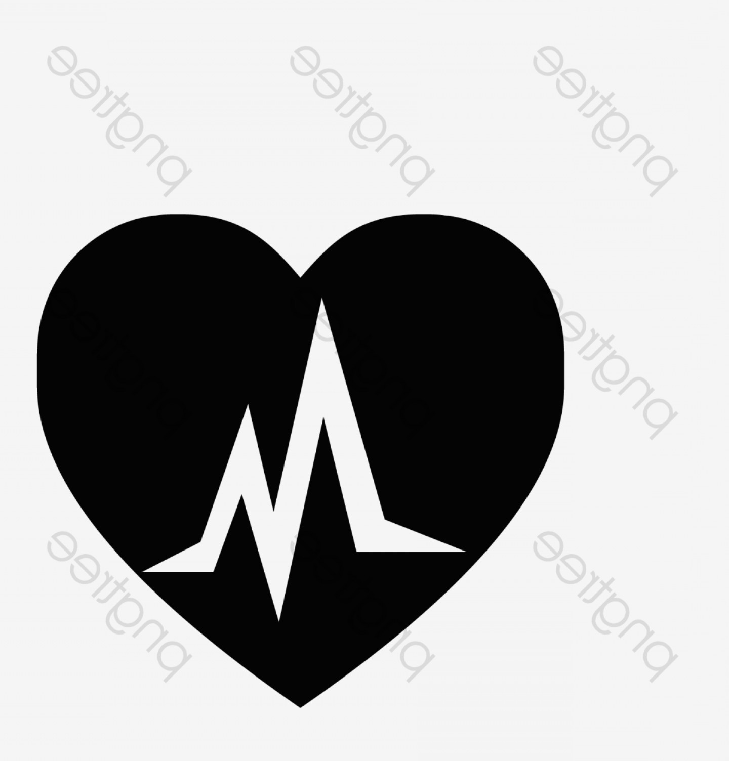 Black Heart And Plane Vector: Plane Black Heart Shaped Ecg Logo