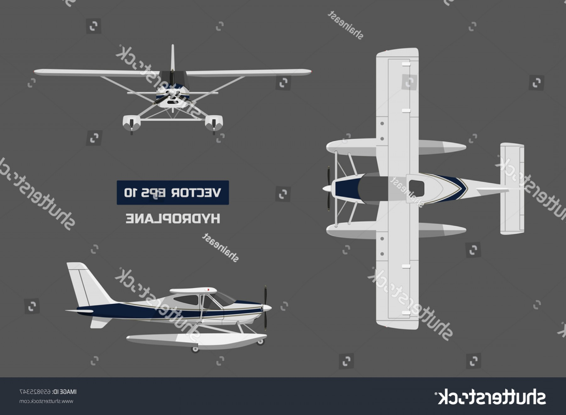 Model Planes Parts Vector: Plane Flat Style On Gray Background