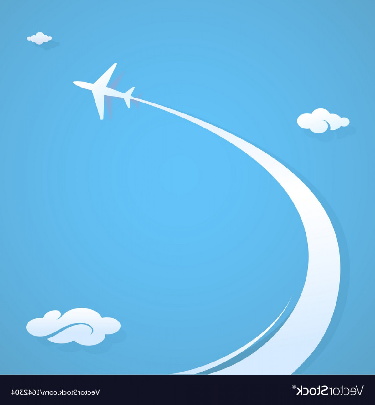 Airplane Travel Vectors: Plane Flying In The Sky Vector