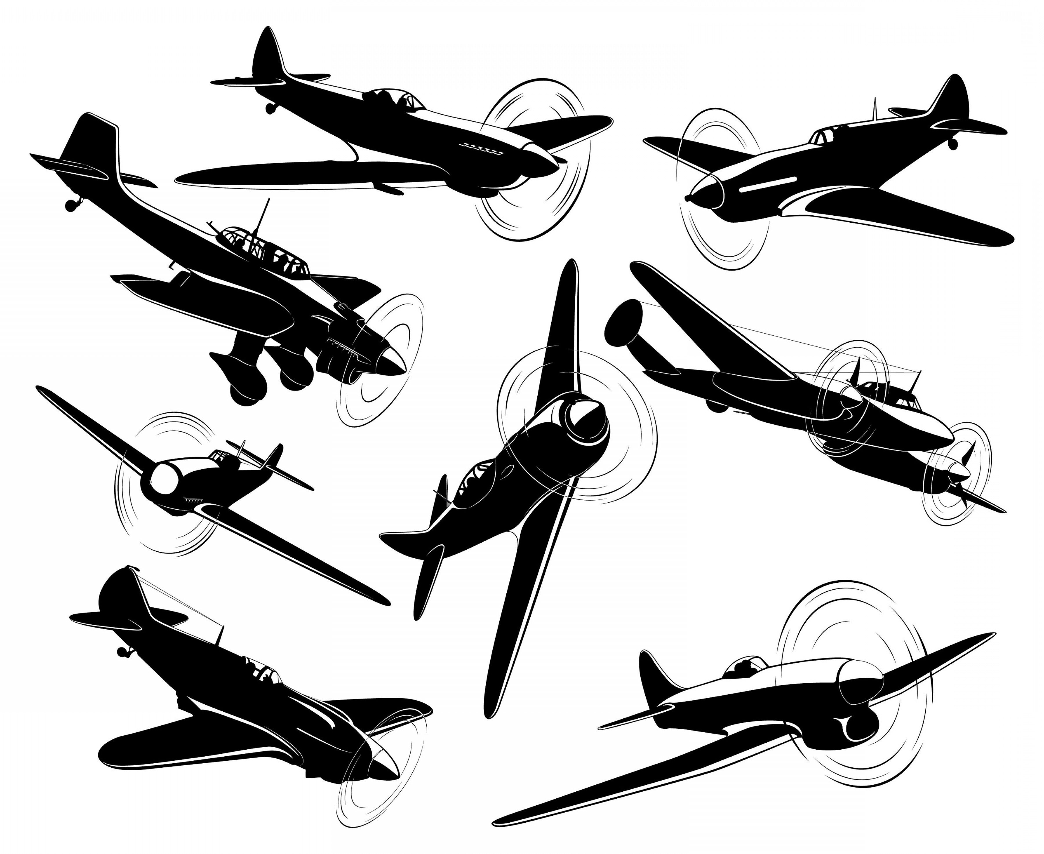 Old School Airplane Fighter Silhouette Vector: Plane War Aircraft Fighter Air Force