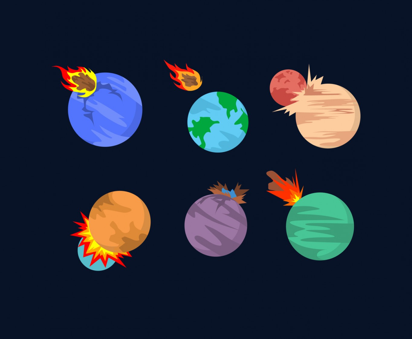 Planets Vector Graphics: Planet And Meteor Impacts Vector