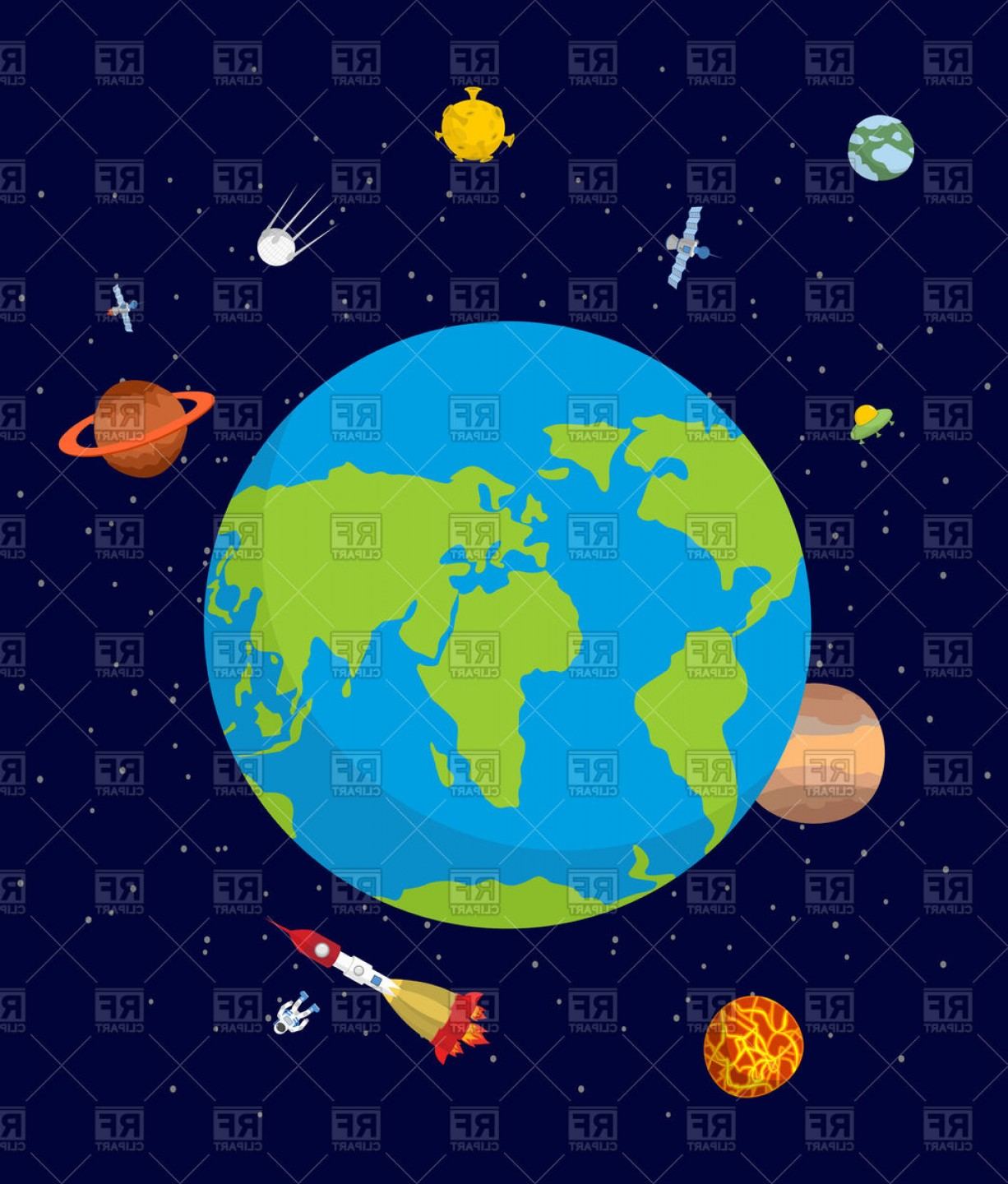 Space Vector Graphics: Planet Earth In Space Vector Clipart