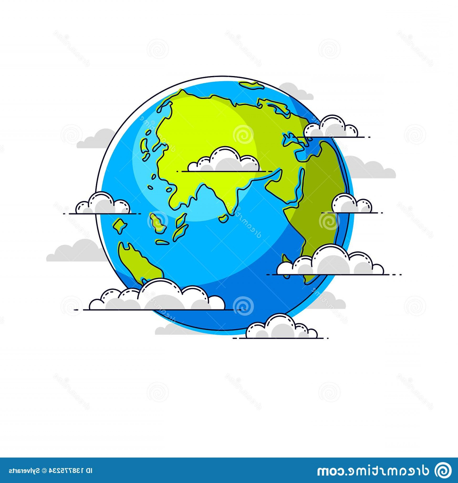 Erth Vector: Planet Earth Vector Illustration Isolated White Background Africa Europe Eurasia Asia Australia Continents Side Image