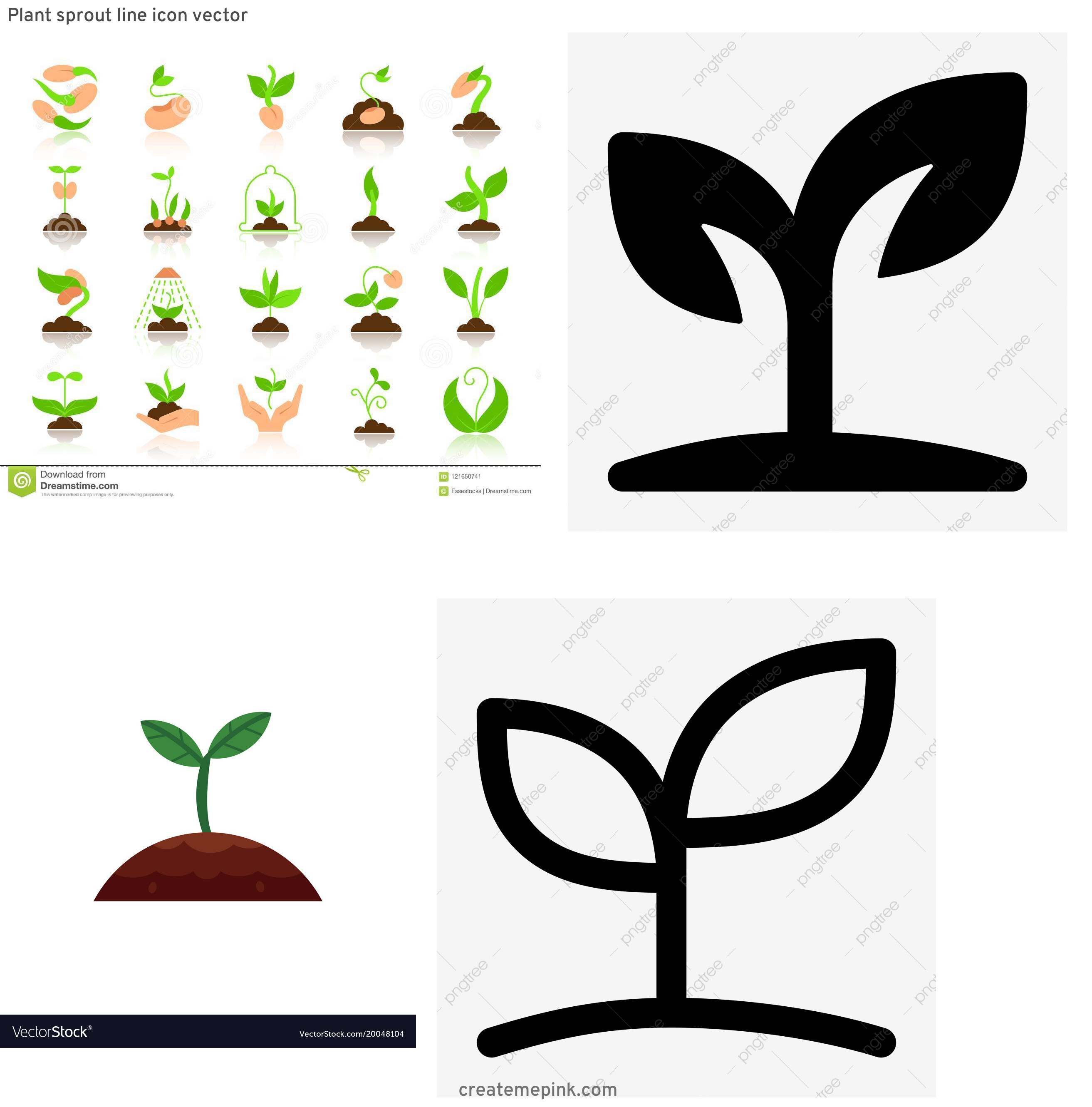 Sprout Icon Vector: Plant Sprout Line Icon Vector