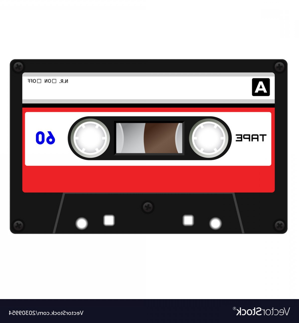 Audio Cassette Vector: Plastic Audio Cassette Tape Vector