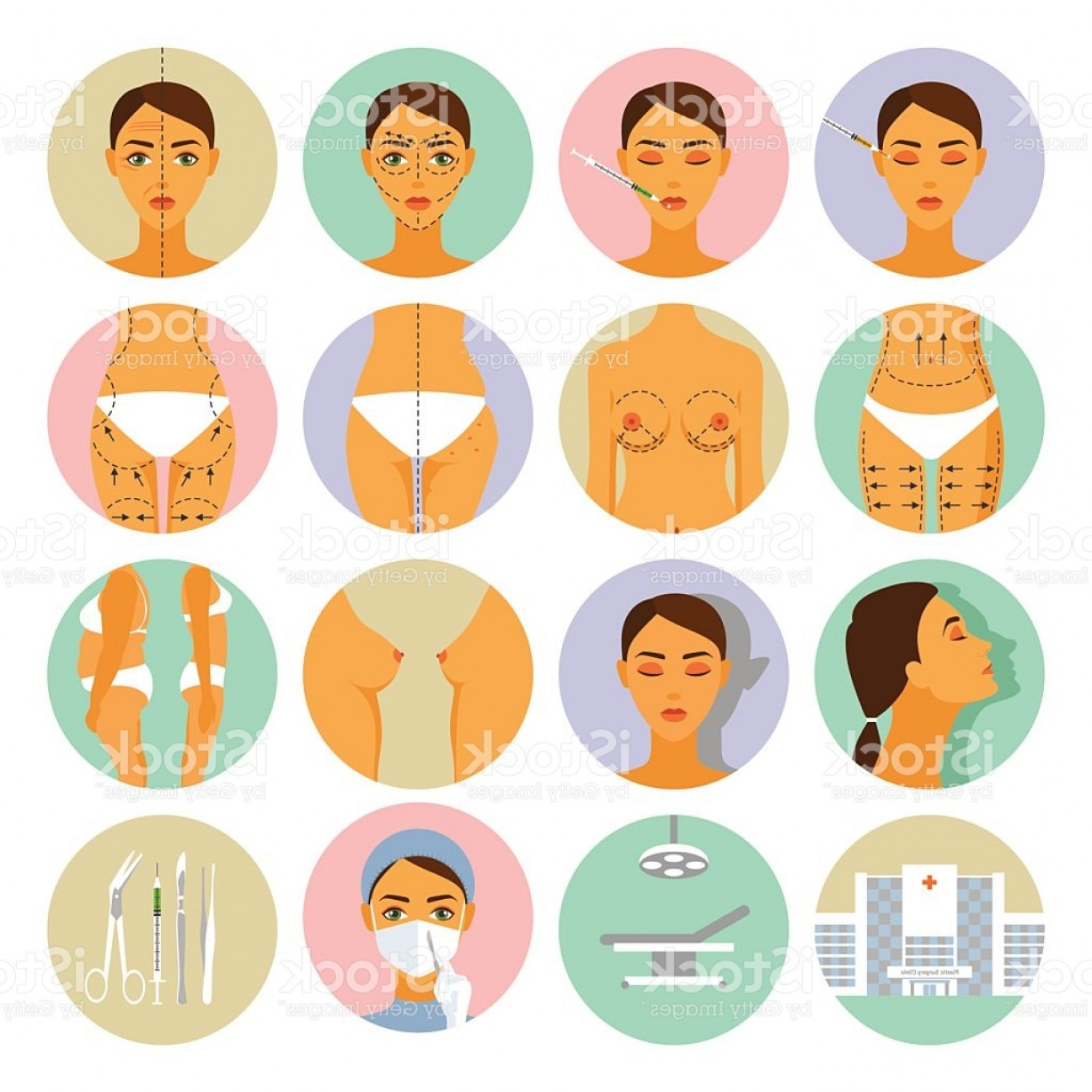 Surgery Icon Vector: Plastic Surgery Icons Set Gm