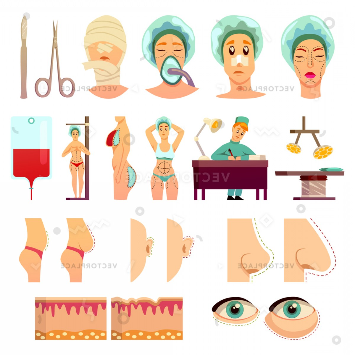 Female Parts Vector: Plastic Surgery Orthogonal Icons Medical Instruments Vector Illustration