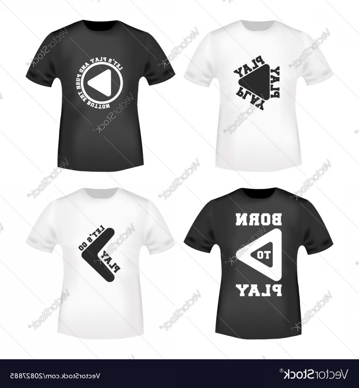 Vector Stamp Shirts: Play Button Stamp And T Shirt Mockup Vector
