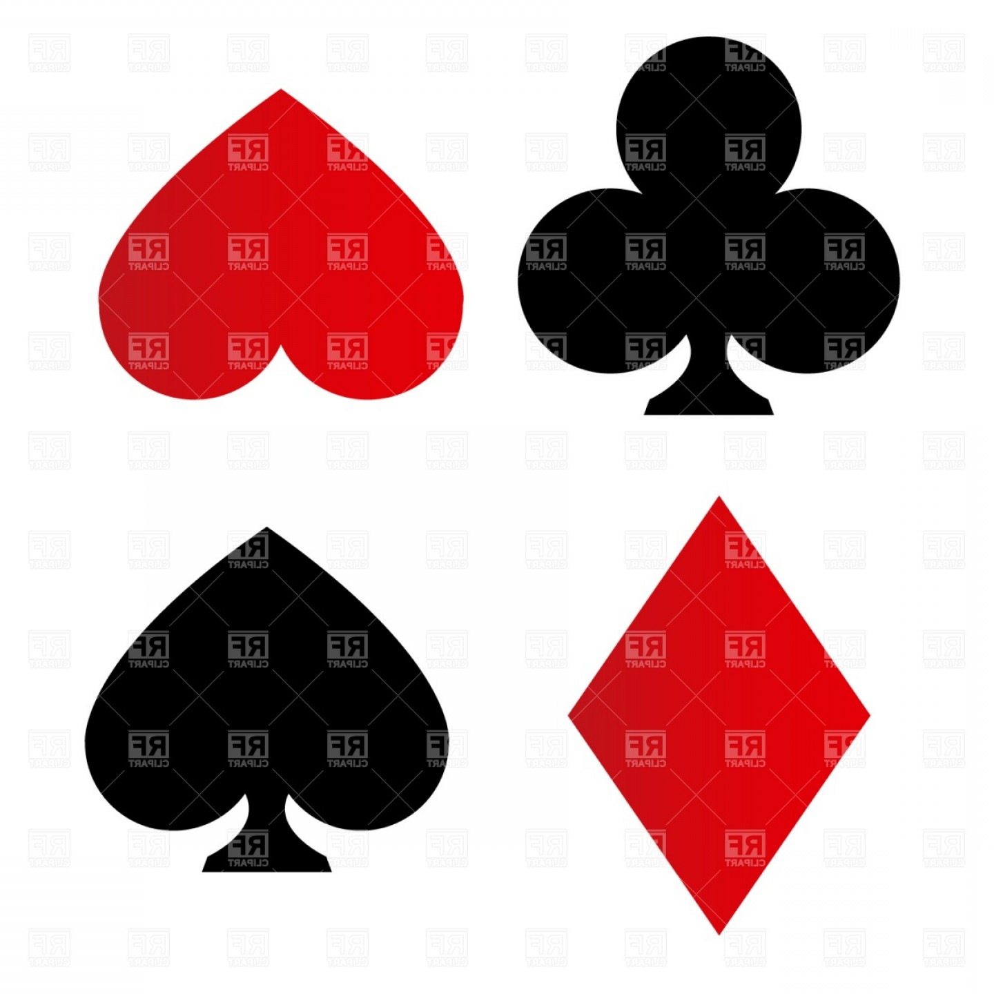 Card Suits Vector Outlines: Playing Card Suit Symbols Vector Clipart